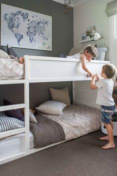 Small kids room ideas for boys ikea kura bed Ideas Bunk Beds For Boys Room, Bunk Bed Rooms, Kid Beds, Loft Beds, Boy Bunk Beds, Bunk Bed Ideas For Small Rooms, Bunk Bed Wall, Kids Beds For Boys, Bunk Beds Small Room