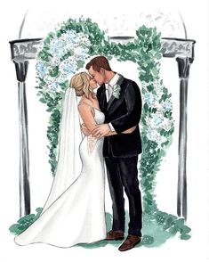 Anniversary Gifts For Couples, Wedding Gifts For Couples, Wedding Games, Wedding Art, Happy Anniversary, Wedding Drawing, Wedding Painting, Watercolor Wedding, Wedding Illustration