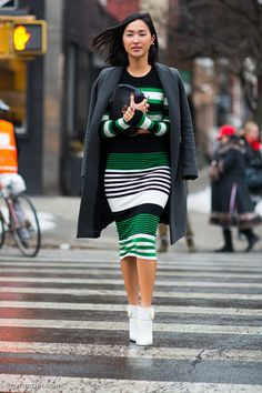 Nicole Warne of Gary Pepper Girl wore crisp black, white and green stripes and white booties to the Thakoon show …