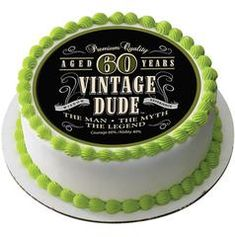 Vintage Dude 60th Edible Birthday Cake Topper Or Cupcake