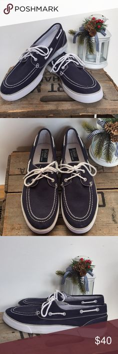 MENS Polo Ralph Lauren shoes Navy canvas boat shoes with white soles in great used condition. Polo by Ralph Lauren Shoes Boat Shoes