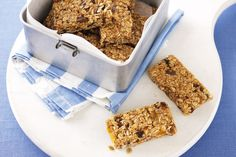 Fruit and muesli bars! Looks great. Maybe exchange brown sugar for more honey, and add dark chocolate bits.