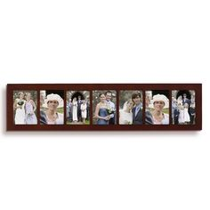 7 Opening Walnut Wood Wall Hanging Picture Photo Frame - 5x7