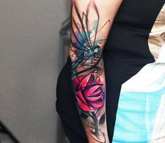 Dragonfly and Rose tattoo by Uncl Paul Knows