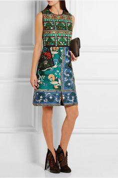 Burberry Prorsum | Embroidered printed cotton-blend dress | NET-A-PORTER.COM