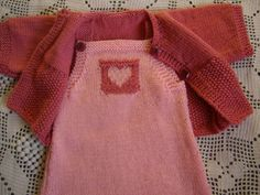 All baby dress and vest 12 months knitted pink by TresorsdAlsace