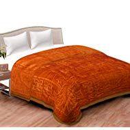 Spangle Plain Embossed Floral Mink Single Blanket Golden Winter Blankets, Mink, Bed, Floral, Furniture, Home Decor, Stream Bed, Flowers, Interior Design