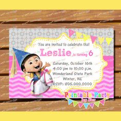 Despicable me agnes by PrintablePartybyFer, $9.99 cute unicorn it's so fluffy 2 pink girl girly birthday party ideas banner water bottle labels cupcake toppers wraps wrappers and candy buffet cards tags labels
