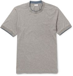 <a href='http://www.mrporter.com/mens/Designers/Brioni'>Brioni</a>'s stretch-cotton tee combines the simple, sporty shape of a classic crew neck with a touch of Italian refinement. This grey piece is neatly tipped with blue silk threads, adding a hint of colour and boosting the comfort factor, as the soft trims sit on the edge of the collar and sleeves.