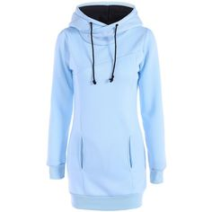 Slim Pockets Design Pullover Neck Hoodie ($17) ❤ liked on Polyvore featuring tops, hoodies, sweater pullover, hoodies pullover, blue hoodie, slim fit hooded sweatshirt and hooded pullover