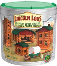 The BIGGEST Lincoln Logs® set ever created - over 330 parts, including real wood Lincoln Logs®, just like you remember! Includes a frontiersman figure, 2 horses and a buildable covered wagon that really moves. Packaged in a beautiful, silver-accented tube for durable storage. For ages 3+.