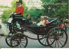 June 15, 1985:  Princess Diana, Queen Mother and Prince Edward riding in an open carriage at Trooping of the Colour, London.