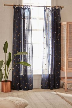Urban Outfitters Star Window Panel - Silver 52X84 One Size