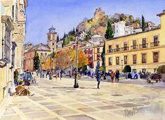 Granada Painting - La Plaza Nueva Granada by Margaret Merry