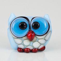 Baby Blue Owl Lampwork Glass Bead