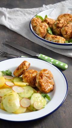 Rybí frikadely plné bylinek - Kuchařka pro dceru Thing 1, Shrimp, Detox, Food And Drink, Low Carb, Lunch, Chicken, Meat, Recipes