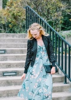 Transition a spring midi dress to the fall with a bomber jacket and a black  clutch eb17eb37758a