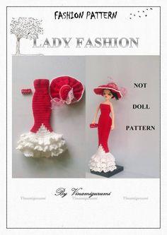 Elegant lady fashion pattern, only clothes pattern for doll, fit for Barbie, silkstone, Fr… PDF Reverse Single Crochet, Single Crochet Stitch, Crab Stitch, Crochet Dolls Free Patterns, Yarn Sizes, New Dolls, White Beads, Elegant Woman, Crochet Clothes