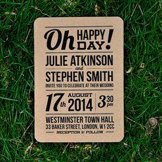 Recycled Rustic Wedding Invitation  'Slim Block by twoforjoypaper, $3.75