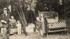 """I collect antique and vintage images. Started with the idea of researching clothing styles and then became fascinated with the stories each photo could tell.  Writing on back of this one states, """"Tent camping with Charlie, Sandra & David"""". Property of Shea Munroe"""