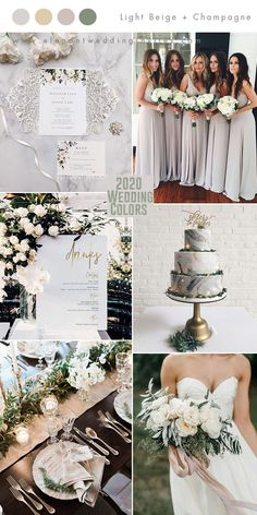 elegant light gray and foil gold summer garden wedding colors summer wedding Top 10 Wedding Color Trends to Inspire in 2020 Gray Weddings, Unique Weddings, Winter Weddings, Fairytale Weddings, Rustic Weddings, Outdoor Weddings, Country Weddings, Romantic Weddings, Elegant Wedding Themes