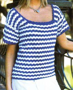 tejidos artesanales en crochet: remera azul y blanca tejida en crochet. (talle 42)