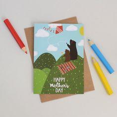 Picnic Bears Mothers Day Card by HannahStevensShop on Etsy