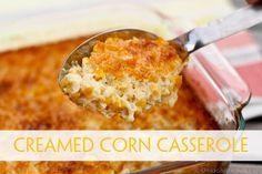 This cream corn casserole recipe (aka corn soufflé) is SO good you'll want to scrape the dish clean. Best of all the corn casserole recipes I've tried! Creamed Corn Casserole Recipe, Cream Corn Casserole, Casserole Recipes, Cornbread Casserole, Spaghetti Casserole, Sweet Cornbread, Baked Spaghetti, Chicken Casserole, Casserole Dishes