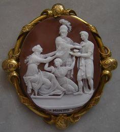 """""""Rarest Cameo of Monime""""  Sardonyx Shell Cameo in 18k Gold Frame, France,   c. 1830-1840"""