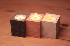 Handmade Wooden Candle Holders Set by woodmess on Etsy