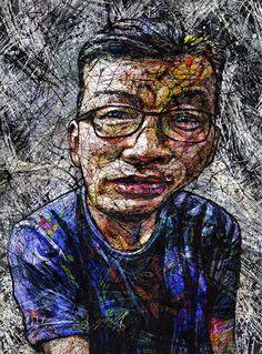 YiPyung Kim 김이평 // 'Portrait of Im, Young Joong' '임영중의 초상' // 76x99cm, Reactive dye, Acid dye, Silk, 2014