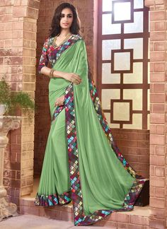 Pretty Green Patch Border Work Faux Georgette Designer Saree