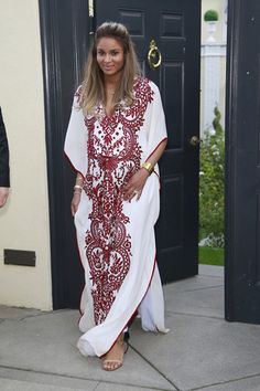 Ciara looks blooming in Naeem Khan Spring Summer 2014 White & Burgundy Lace Embroidered Kaftan