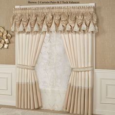 Indulge in the look of luxury with the polyester faux silk Elegante Window Treatment. Specify Tuck Valance or Curtain Pair. Shabby Chic Kitchen, Shabby Chic Homes, Shabby Chic Style, Shabby Chic Decor, Valance Window Treatments, Valance Curtains, Valances, Window Coverings, Ideas Armario
