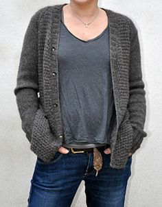 Ravelry: Comfort Zone is knitted from the bottom up, in one piece, seamless pattern by Lili Comme Tout   This cardigan pattern uses US7 & US4 needles.