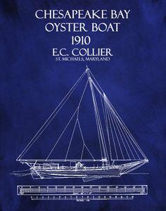 1910 Chesapeake Bay Oyster Boat E.C. by BlueMoonPatentPrints