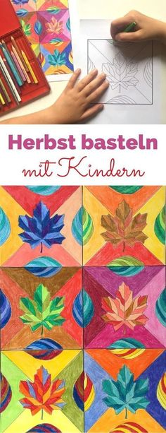 Herbst basteln mit Kindern Autumn crafts with children. Tinkering with toddlers is very easy with th Fall Art Projects, School Art Projects, Autumn Crafts, Autumn Art, Classe D'art, 6th Grade Art, Leaf Template, Collaborative Art, Middle School Art