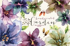 Aquarelle watercolor garden flowers by GrafikBoutique on Creative Market
