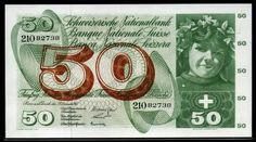 Switzerland currency 50 Franken banknote of 1965, Swiss National Bank, Pick 48 Banknotes of the Swiss franc money currency, 50 Swiss Francs banknote, Swiss banknotes, Swiss paper money, Swiss bank notes, Switzerland banknotes, Switzerland paper money, Switzerland bank notes, Schweizer Franken Banknoten papiergeld, billet 50 francs Suisse, Banconota da 50 franchi Svizzeri.