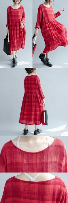 Women cotton linen loose autumn dress for a simple look.welcome to buykud.com