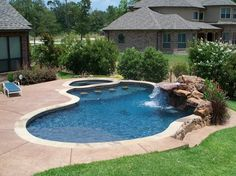 The Best Stone Waterfalls Backyard Ideas – Pool Landscape Ideas Backyard Pool Landscaping, Swimming Pools Backyard, Swimming Pool Designs, Landscaping Ideas, Backyard Ideas, Pools Inground, Concrete Pool, Stamped Concrete, Pool Contractors