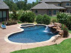 The Best Stone Waterfalls Backyard Ideas – Pool Landscape Ideas Backyard Pool Landscaping, Backyard Pool Designs, Swimming Pools Backyard, Swimming Pool Designs, Landscaping Ideas, Backyard Ideas, Pools Inground, Pool Spa, Concrete Pool