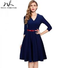 Get Designer Clothing and Fashion Accessories at 90% Off Wholesale! -> NICE-FOREVER SPRING STYLISH CHARMING ELEGANT LADY DRESS WOMEN BUTTON 3/4 SLEEVE VINTAGE TUNIC PARTY SLIM BALL GOWN DRESS A006DRESSES #fashion #Womens #women #Deals #fashionshow #dresses #dress #style