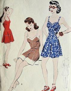 1940s  PINUP BATHING SUIT SWIM SUIT PATTERN PRINCESS FLARED SWIMSUIT  VOGUE PATTERNS 9375
