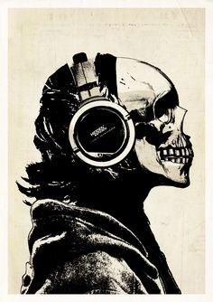 Skull and Headphones - signed studio edition print – Hidden Moves