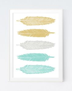 Mustard Turquoise Feathers Art Green and Gold Wall by SutilDesigns