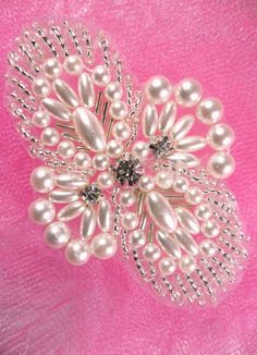 JB271 Hot Fix Silver Pearl Beaded Rhinestone Applique for Sewing and Crafts  3