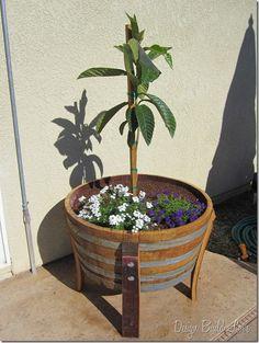 Adding Wine Barrel Decor to the Yard