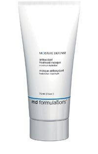 "MD Formulations Moisture Defense Antioxidant Treatment Masque 2.5 oz by MD Formulations. Save 15 Off!. $22.10. The perfect super-hydration treatment to instantly soften and rejuvenate.. The perfect ""super-hydration"" treatment to instantly soften and rejuvenate as it soothes and calms. With four powerful antioxidants to defend against environmental stress and natural plant extracts for soothing care, this treatment masque restores vital moisture and rebuilds the skin's protective…"