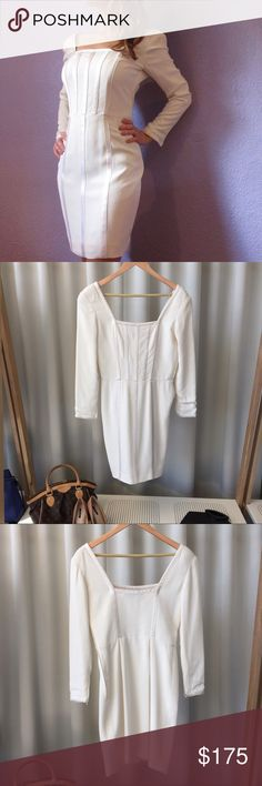 Valentino Ivory Sheath Dress Pre-loved dress. Please review all photos. Dress has some spots and the zipper is not in the best condition but works. You may just need to trim some of the loose threads. Has been slightly altered at the waist. Valentino Dresses Mini
